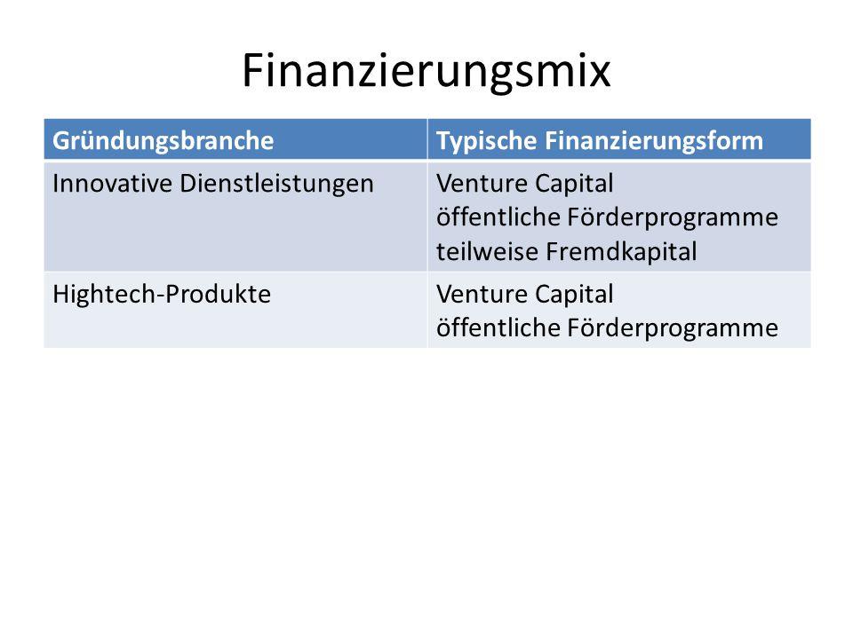 Finanzierungsmix GründungsbrancheTypische Finanzierungsform Innovative DienstleistungenVenture Capital öffentliche Förderprogramme teilweise Fremdkapi
