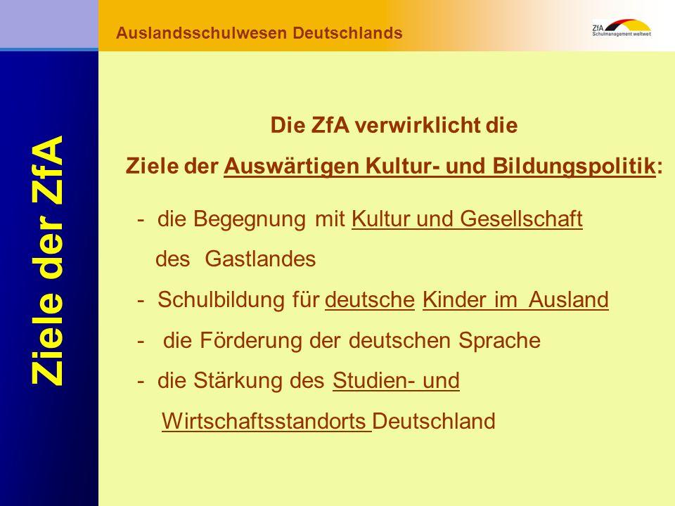 Wie lernt man Deutsch? Warum gerade Deutsch? Ausblick Grundlagen Abschluss- bereich Fachunterricht Auslandsschulwesen Deutschlands Ziele der ZfA - die