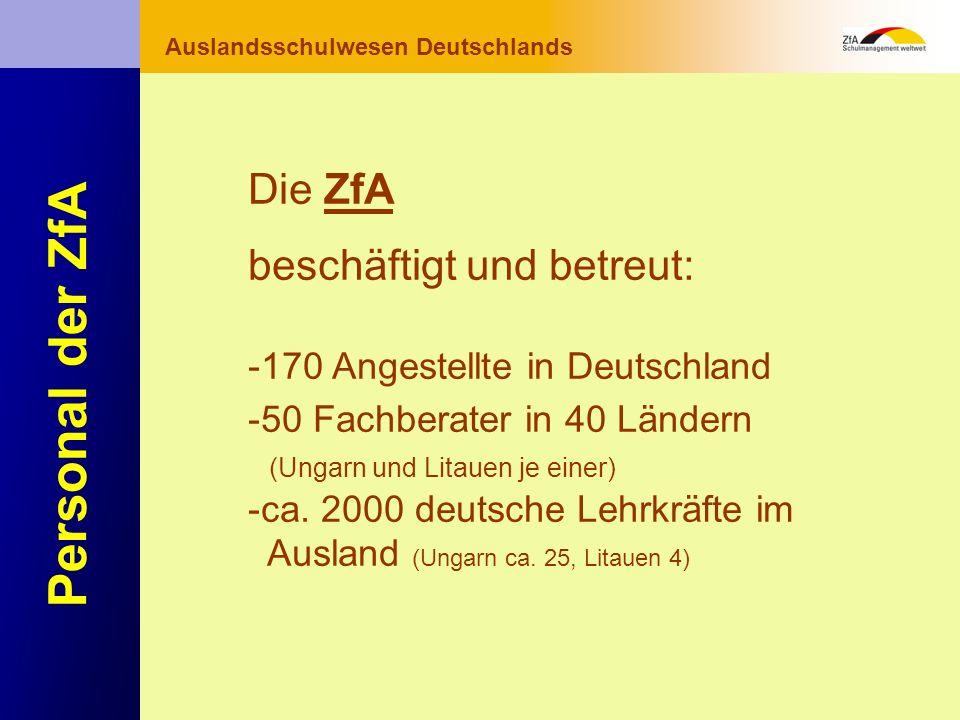 Wie lernt man Deutsch? Warum gerade Deutsch? Ausblick Grundlagen Abschluss- bereich Fachunterricht Auslandsschulwesen Deutschlands Personal der ZfA Di