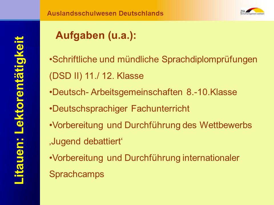 Wie lernt man Deutsch? Warum gerade Deutsch? Ausblick Grundlagen Abschluss- bereich Fachunterricht Auslandsschulwesen Deutschlands Litauen: Lektorentä