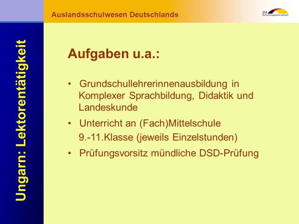 Wie lernt man Deutsch? Warum gerade Deutsch? Ausblick Grundlagen Abschluss- bereich Fachunterricht Auslandsschulwesen Deutschlands Ungarn: Lektorentät