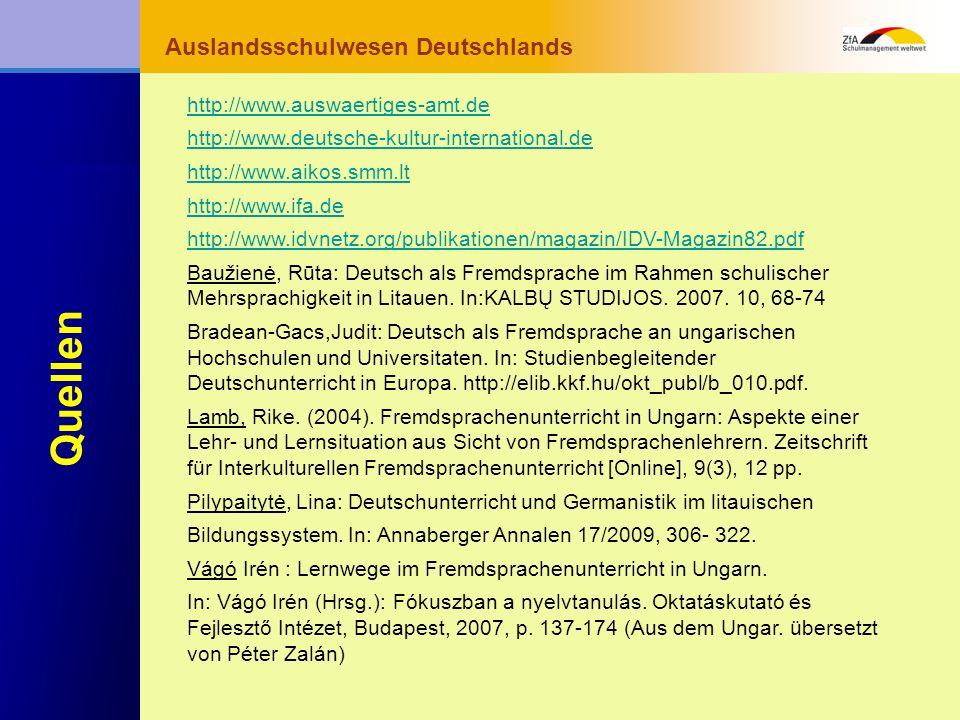Wie lernt man Deutsch? Warum gerade Deutsch? Ausblick Grundlagen Abschluss- bereich Fachunterricht Auslandsschulwesen Deutschlands Quellen http://www.