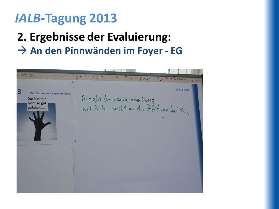 IALB-Tagung 2013 2. Ergebnisse der Evaluierung: An den Pinnwänden im Foyer - EG