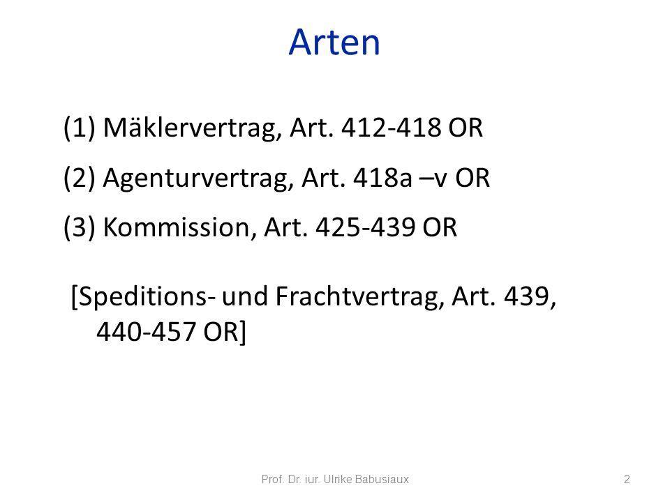 (1) Mäklervertrag, Art. 412-418 OR (2) Agenturvertrag, Art. 418a –v OR (3) Kommission, Art. 425-439 OR [Speditions- und Frachtvertrag, Art. 439, 440-4