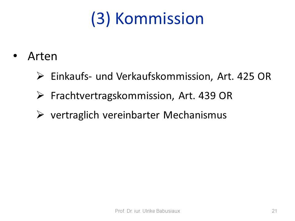 Arten Einkaufs- und Verkaufskommission, Art. 425 OR Frachtvertragskommission, Art. 439 OR vertraglich vereinbarter Mechanismus Prof. Dr. iur. Ulrike B