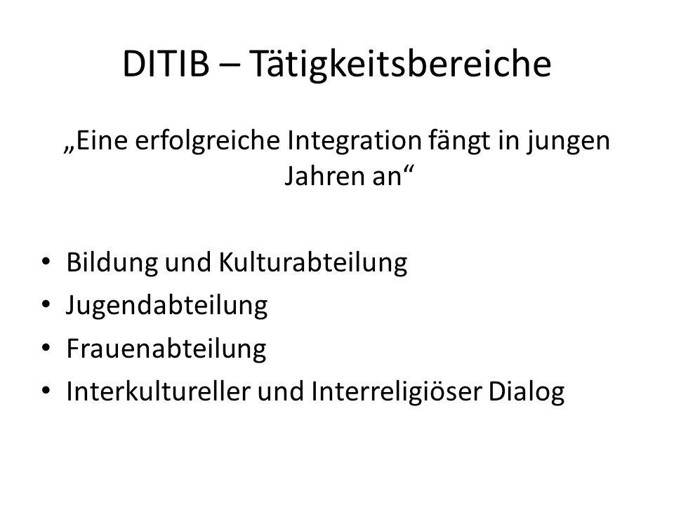 DITIB – Tätigkeitsbereiche Eine erfolgreiche Integration fängt in jungen Jahren an Bildung und Kulturabteilung Jugendabteilung Frauenabteilung Interku