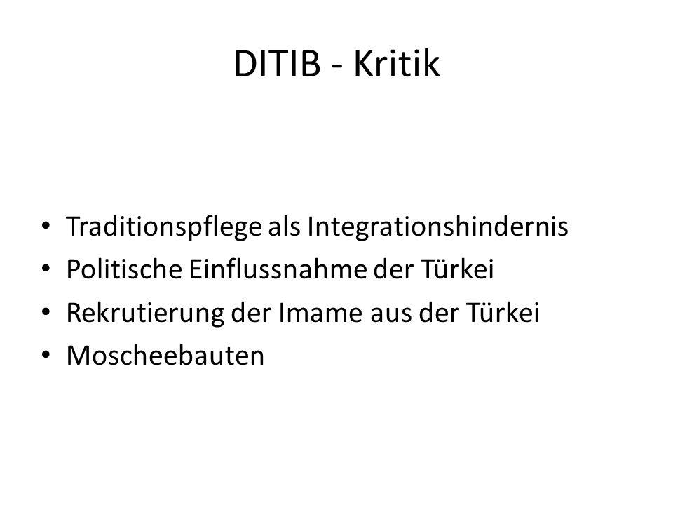 DITIB - Kritik Traditionspflege als Integrationshindernis Politische Einflussnahme der Türkei Rekrutierung der Imame aus der Türkei Moscheebauten