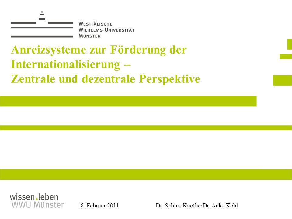 Dr. Sabine Knothe/Dr. Anke Kohl 18. Februar 2011 Anreizsysteme zur Förderung der Internationalisierung – Zentrale und dezentrale Perspektive