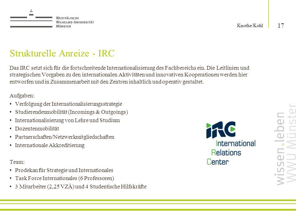 Strukturelle Anreize - IRC Das IRC setzt sich für die fortschreitende Internationalisierung des Fachbereichs ein. Die Leitlinien und strategischen Vor