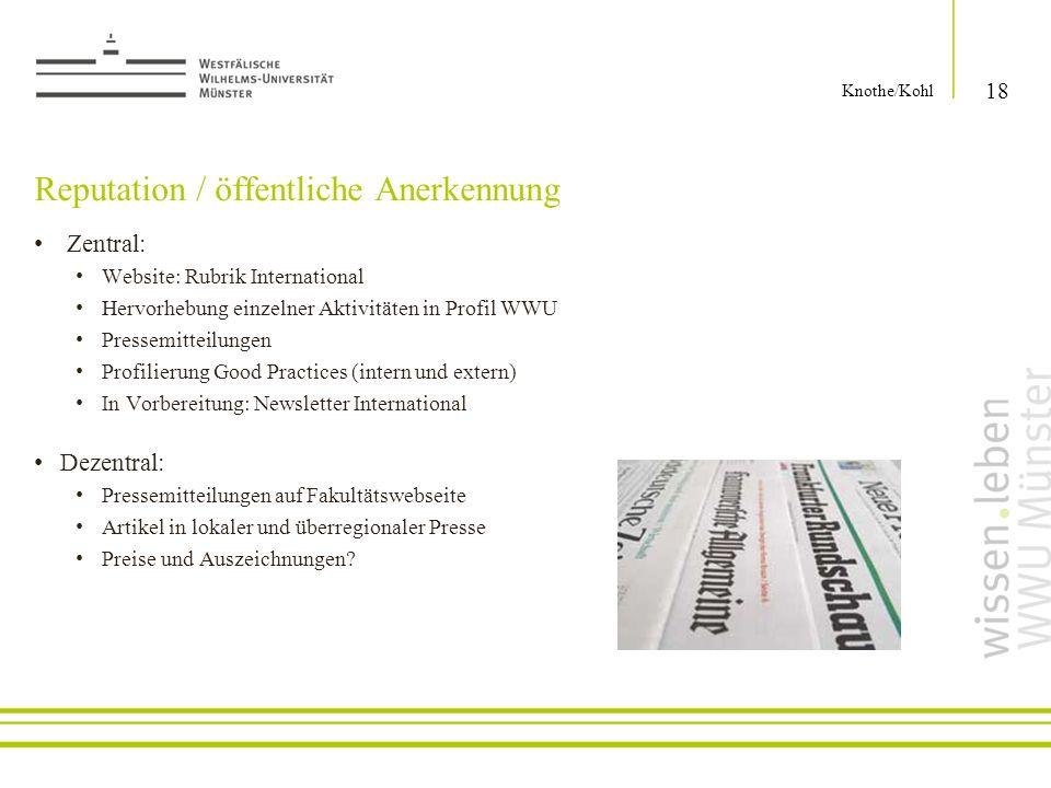 Reputation / öffentliche Anerkennung Zentral: Website: Rubrik International Hervorhebung einzelner Aktivitäten in Profil WWU Pressemitteilungen Profil