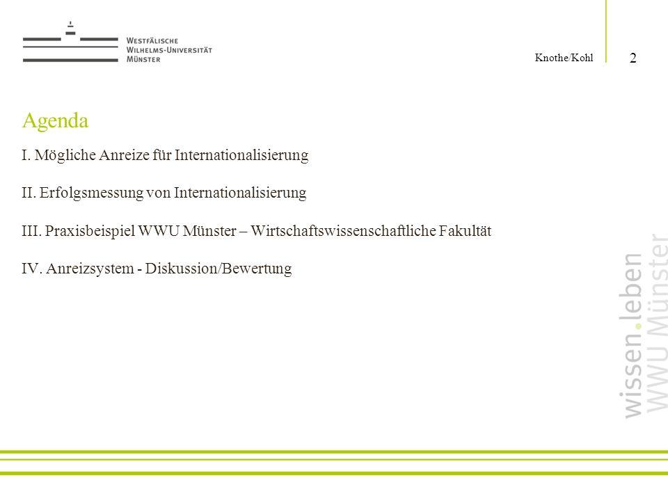Agenda I. Mögliche Anreize für Internationalisierung II. Erfolgsmessung von Internationalisierung III. Praxisbeispiel WWU Münster – Wirtschaftswissens