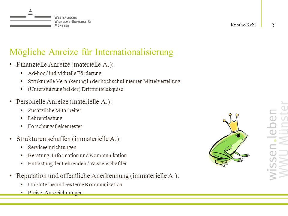 Mögliche Anreize für Internationalisierung Finanzielle Anreize (materielle A.): Ad-hoc / individuelle Förderung Strukturelle Verankerung in der hochsc