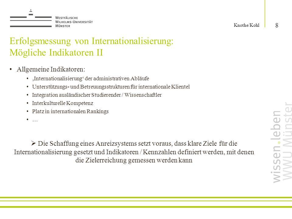 Erfolgsmessung von Internationalisierung: Mögliche Indikatoren II Allgemeine Indikatoren: Internationalisierung der administrativen Abläufe Unterstütz
