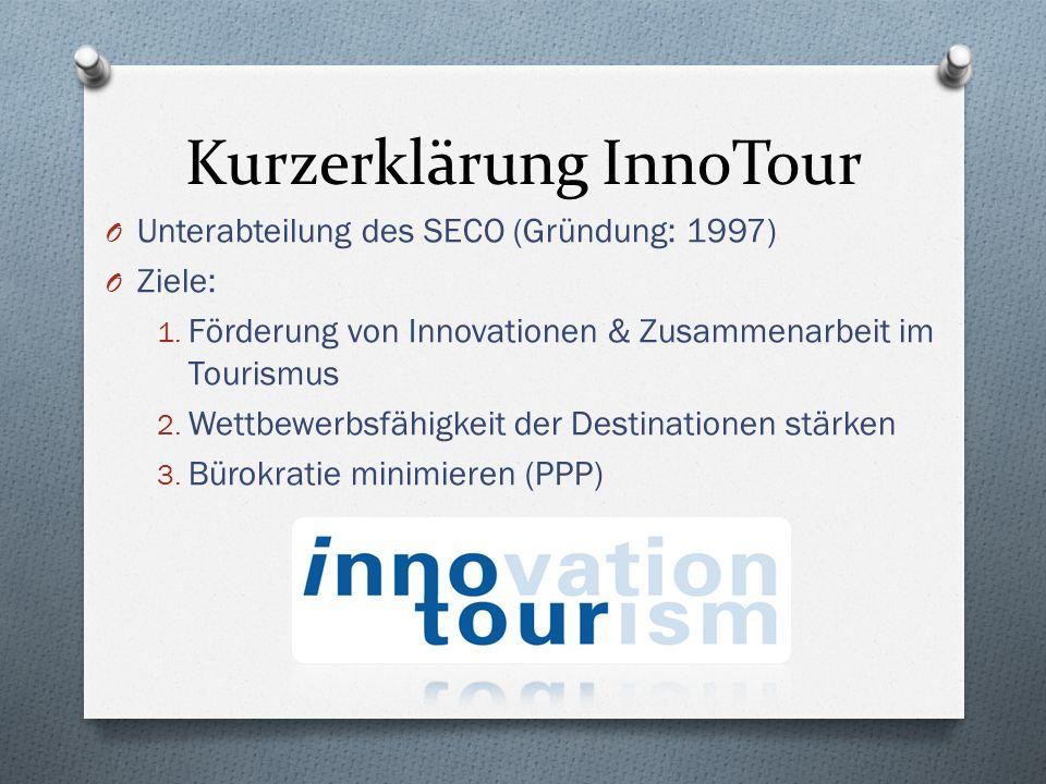 Kurzerklärung InnoTour O Unterabteilung des SECO (Gründung: 1997) O Ziele: 1. Förderung von Innovationen & Zusammenarbeit im Tourismus 2. Wettbewerbsf