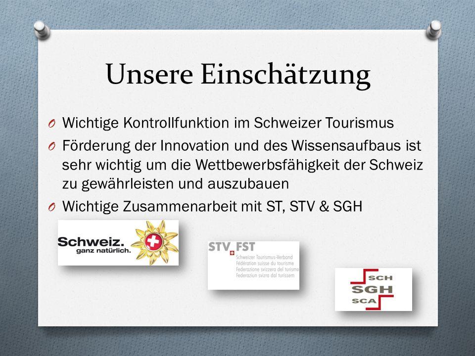 Unsere Einschätzung O Wichtige Kontrollfunktion im Schweizer Tourismus O Förderung der Innovation und des Wissensaufbaus ist sehr wichtig um die Wettb
