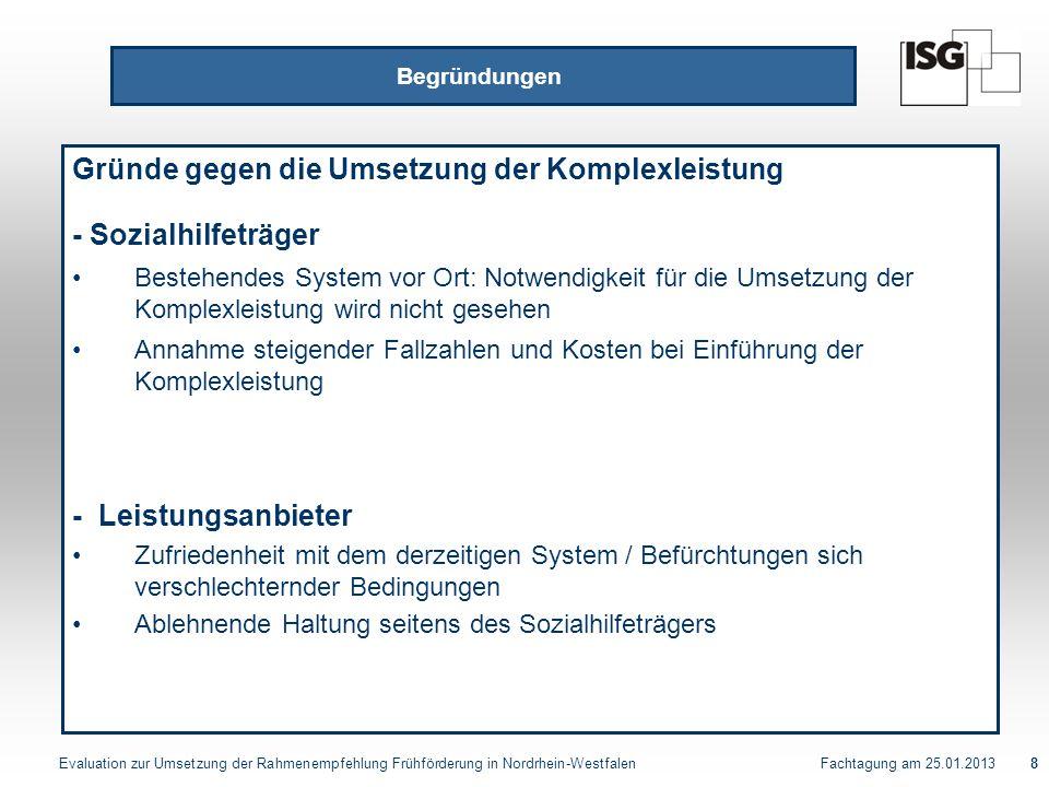 Evaluation zur Umsetzung der Rahmenempfehlung Frühförderung in Nordrhein-Westfalen Fachtagung am 25.01.201319 Evaluation Komplexleistung Frühförderung Bewertung der derzeitigen Strukturen