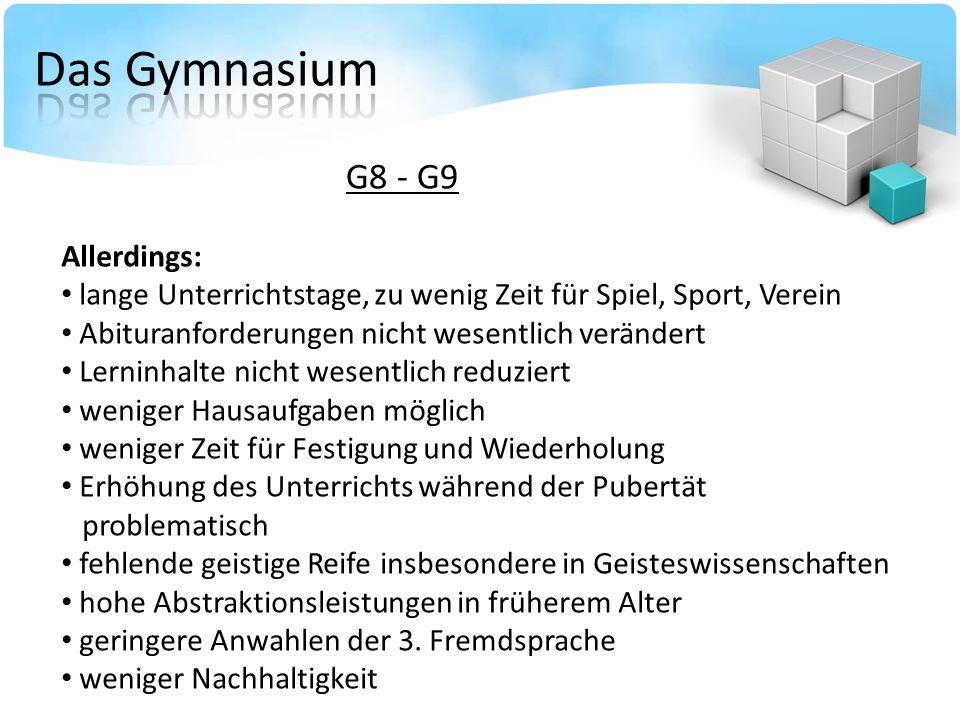 G8 - G9 Allerdings: lange Unterrichtstage, zu wenig Zeit für Spiel, Sport, Verein Abituranforderungen nicht wesentlich verändert Lerninhalte nicht wes