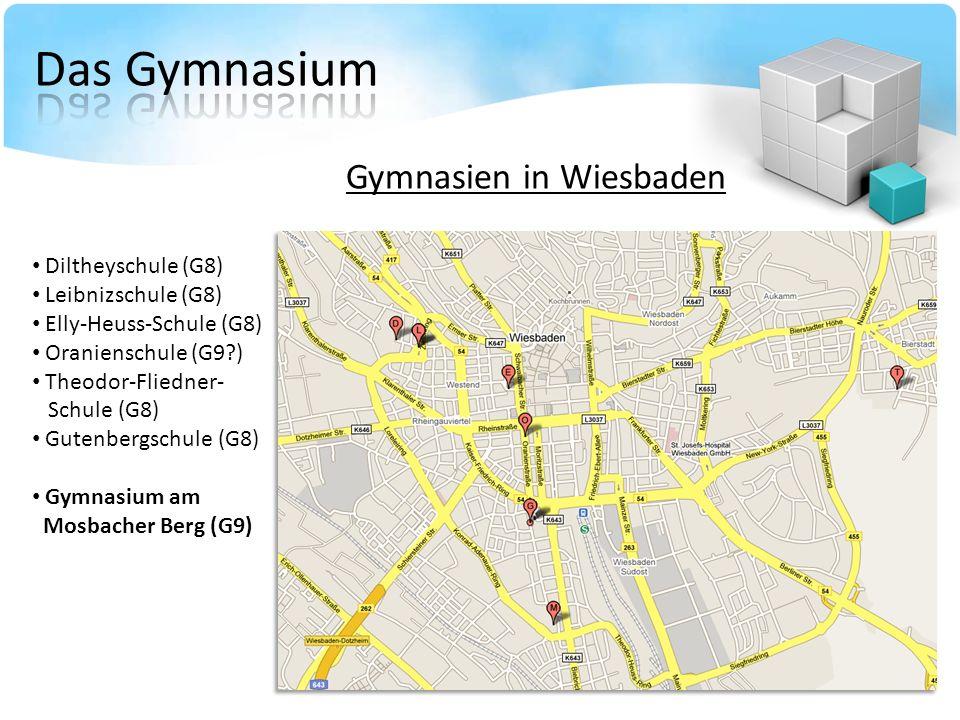 Gymnasien in Wiesbaden Diltheyschule (G8) Leibnizschule (G8) Elly-Heuss-Schule (G8) Oranienschule (G9?) Theodor-Fliedner- Schule (G8) Gutenbergschule (G8) Gymnasium am Mosbacher Berg (G9)