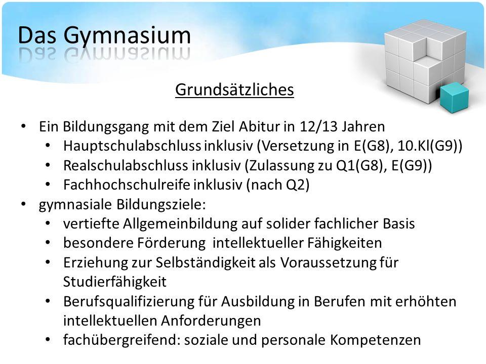 Ein Bildungsgang mit dem Ziel Abitur in 12/13 Jahren Hauptschulabschluss inklusiv (Versetzung in E(G8), 10.Kl(G9)) Realschulabschluss inklusiv (Zulass