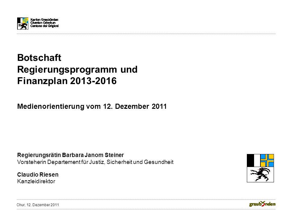Botschaft Regierungsprogramm und Finanzplan 2013-2016 Medienorientierung vom 12.