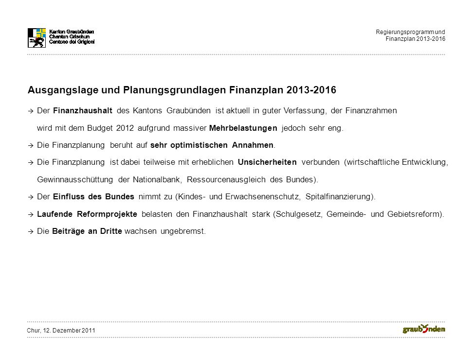 Regierungsprogramm und Finanzplan 2013-2016 Ausgangslage und Planungsgrundlagen Finanzplan 2013-2016 Der Finanzhaushalt des Kantons Graubünden ist aktuell in guter Verfassung, der Finanzrahmen wird mit dem Budget 2012 aufgrund massiver Mehrbelastungen jedoch sehr eng.