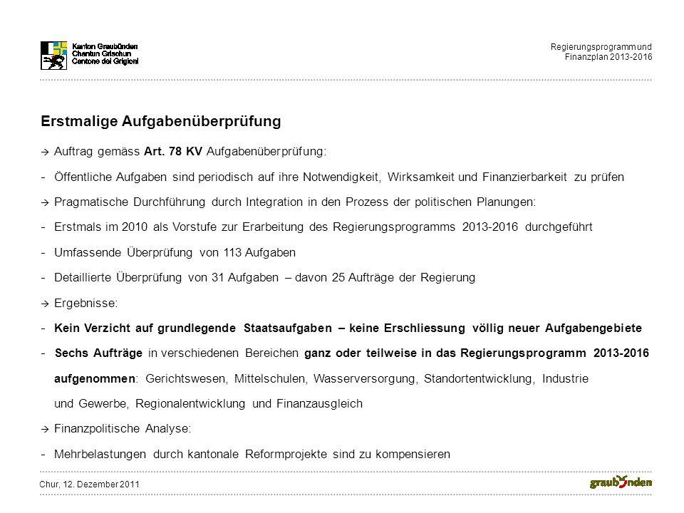 Regierungsprogramm und Finanzplan 2013-2016 Erstmalige Aufgabenüberprüfung Auftrag gemäss Art. 78 KV Aufgabenüberprüfung: Öffentliche Aufgaben sind pe