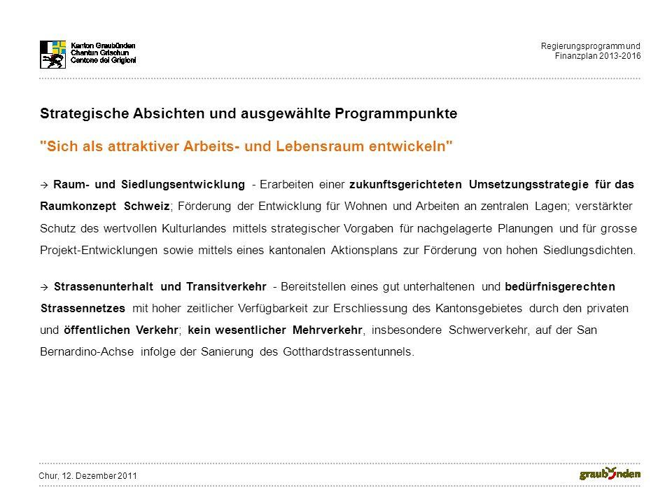 Regierungsprogramm und Finanzplan 2013-2016 Strategische Absichten und ausgewählte Programmpunkte