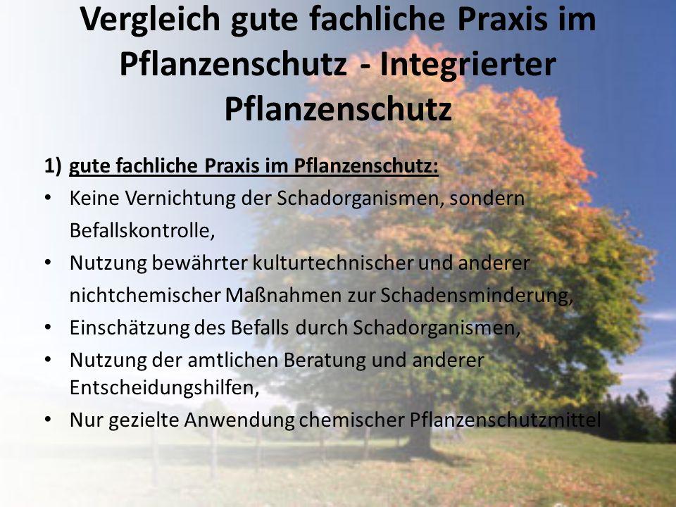 Vergleich gute fachliche Praxis im Pflanzenschutz - Integrierter Pflanzenschutz 1)gute fachliche Praxis im Pflanzenschutz: Keine Vernichtung der Schad