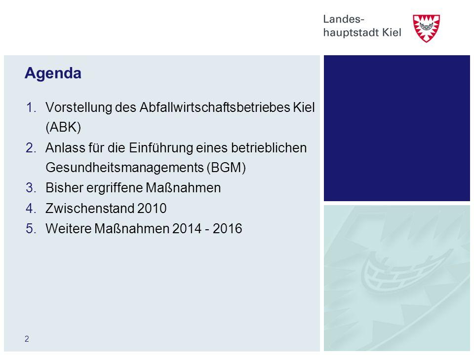 2 Agenda 1.Vorstellung des Abfallwirtschaftsbetriebes Kiel (ABK) 2.Anlass für die Einführung eines betrieblichen Gesundheitsmanagements (BGM) 3.Bisher