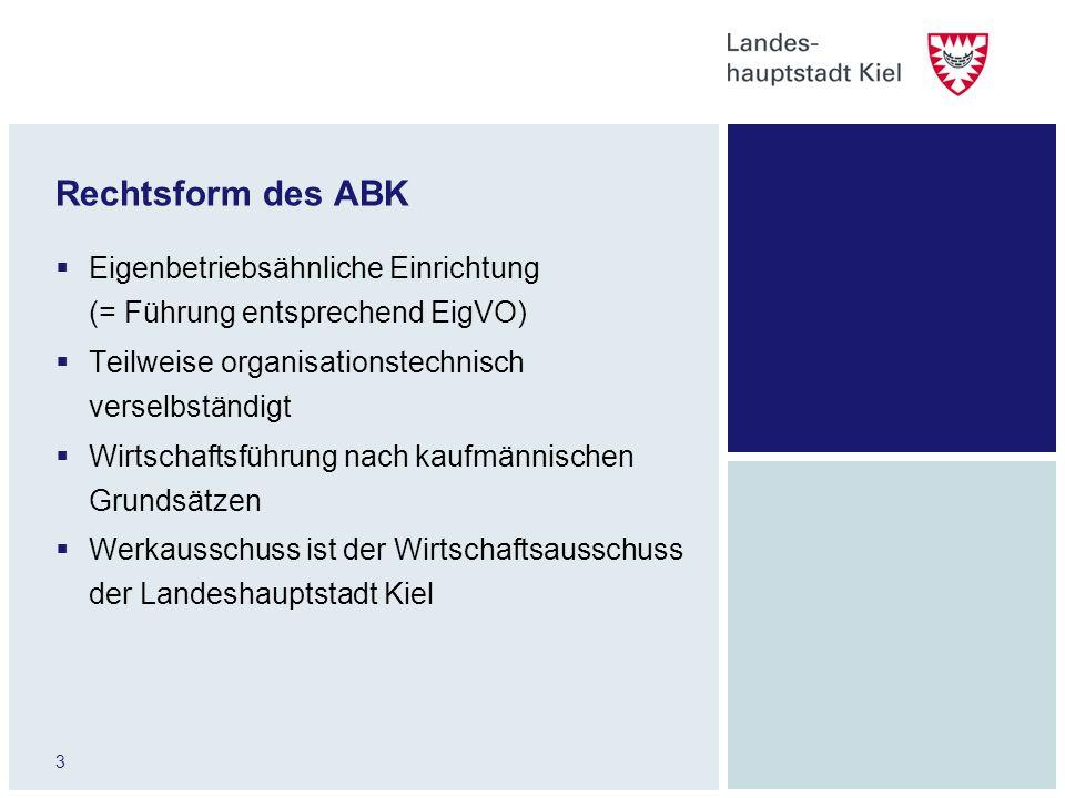 3 Rechtsform des ABK Eigenbetriebsähnliche Einrichtung (= Führung entsprechend EigVO) Teilweise organisationstechnisch verselbständigt Wirtschaftsführ