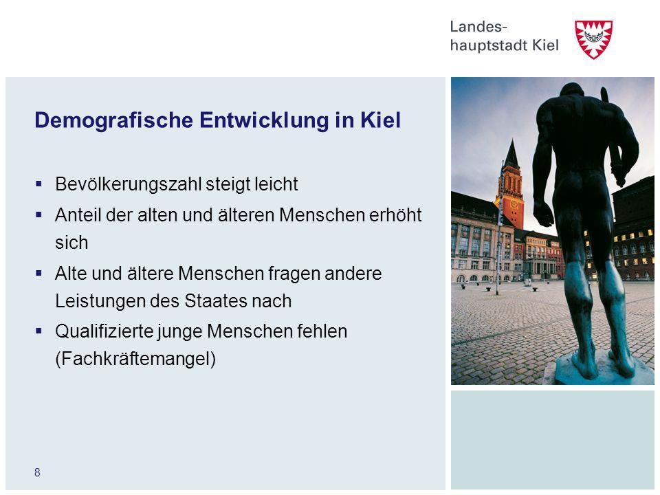 8 Demografische Entwicklung in Kiel Bevölkerungszahl steigt leicht Anteil der alten und älteren Menschen erhöht sich Alte und ältere Menschen fragen a