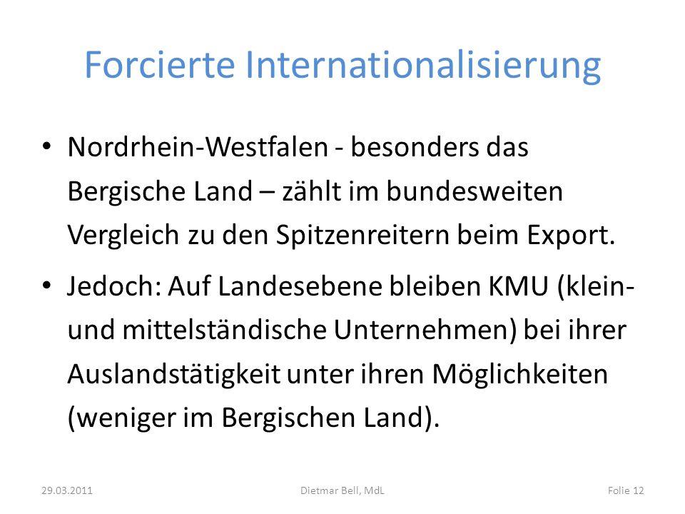 Forcierte Internationalisierung Nordrhein-Westfalen - besonders das Bergische Land – zählt im bundesweiten Vergleich zu den Spitzenreitern beim Export