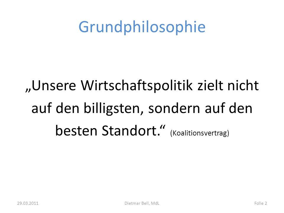 Grundphilosophie Unsere Wirtschaftspolitik zielt nicht auf den billigsten, sondern auf den besten Standort. (Koalitionsvertrag) 29.03.2011Dietmar Bell