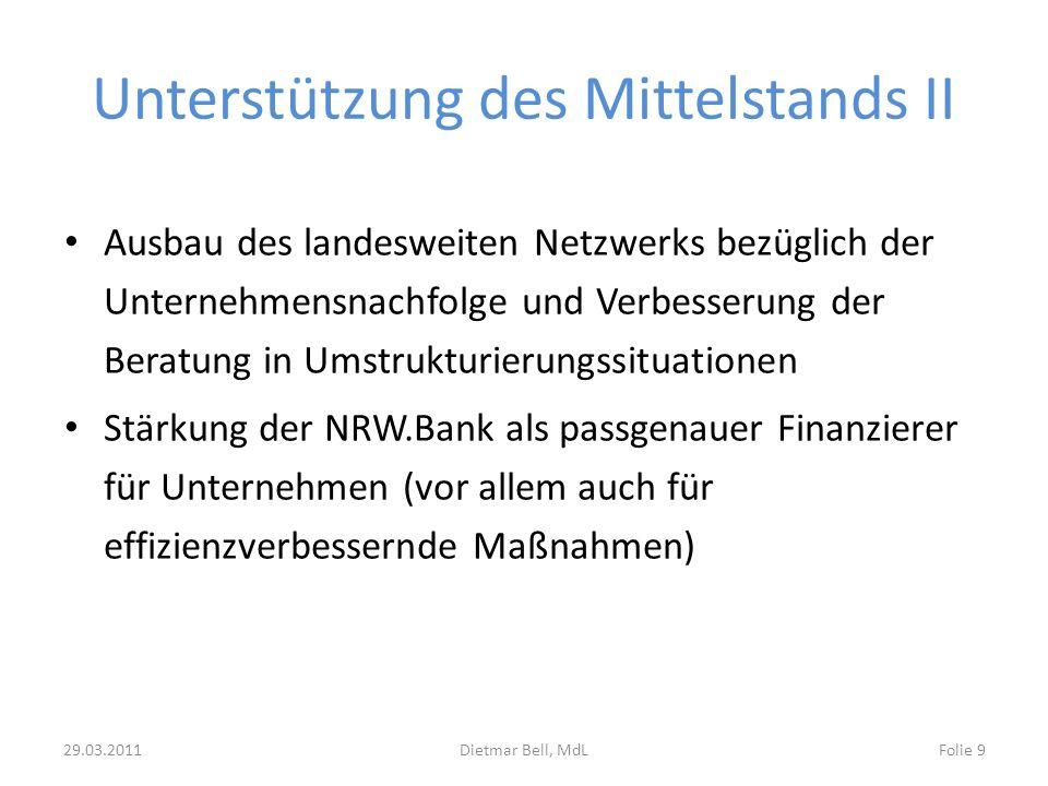 Unterstützung des Mittelstands II Ausbau des landesweiten Netzwerks bezüglich der Unternehmensnachfolge und Verbesserung der Beratung in Umstrukturier