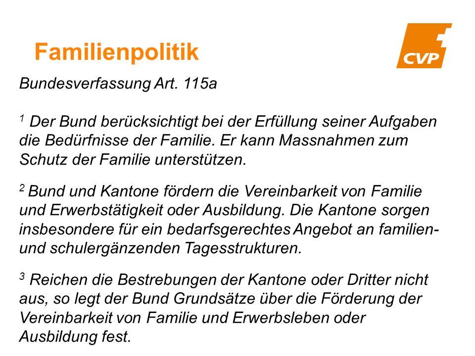 Familienpolitik Bundesverfassung Art.