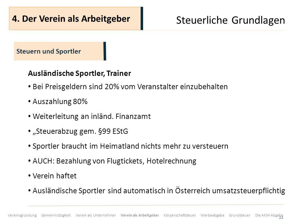 Steuerliche Grundlagen 23 Ausländische Sportler, Trainer Bei Preisgeldern sind 20% vom Veranstalter einzubehalten Auszahlung 80% Weiterleitung an inländ.