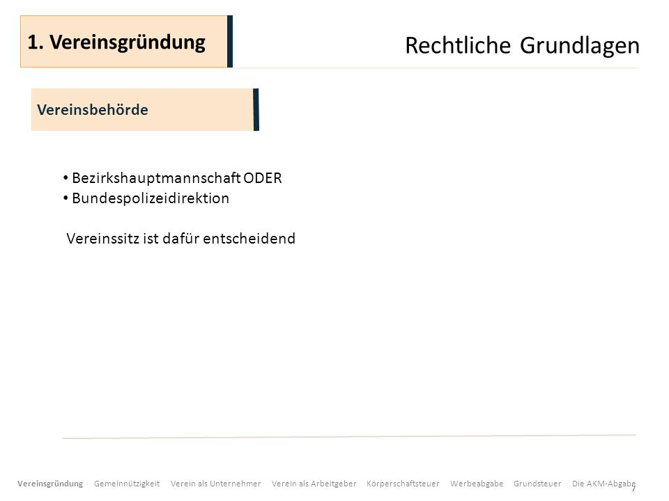 Rechtliche Grundlagen 7 Bezirkshauptmannschaft ODER Bundespolizeidirektion Vereinssitz ist dafür entscheidend Vereinsbehörde 1.