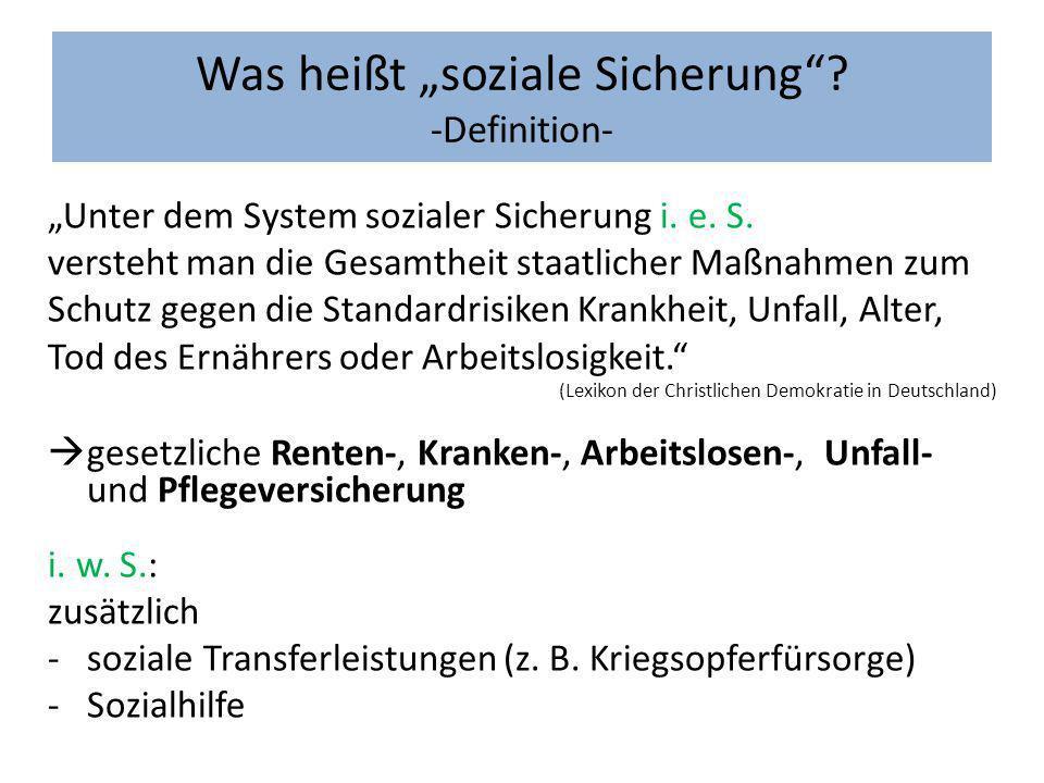 Was heißt soziale Sicherung? -Definition- Unter dem System sozialer Sicherung i. e. S. versteht man die Gesamtheit staatlicher Maßnahmen zum Schutz ge
