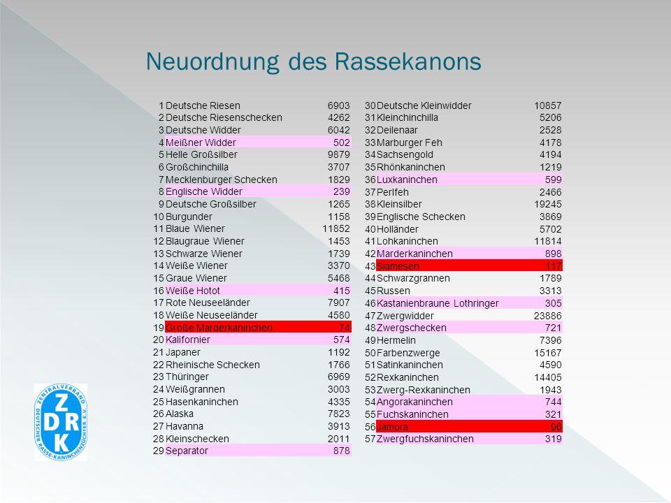 Neuordnung des Rassekanons 1Deutsche Riesen6903 2Deutsche Riesenschecken4262 3Deutsche Widder6042 4Meißner Widder502 5Helle Großsilber9879 6Großchinch