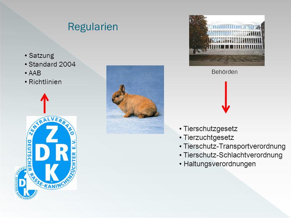 Regularien Behörden Satzung Standard 2004 AAB Richtlinien Tierschutzgesetz Tierzuchtgesetz Tierschutz-Transportverordnung Tierschutz-Schlachtverordnun