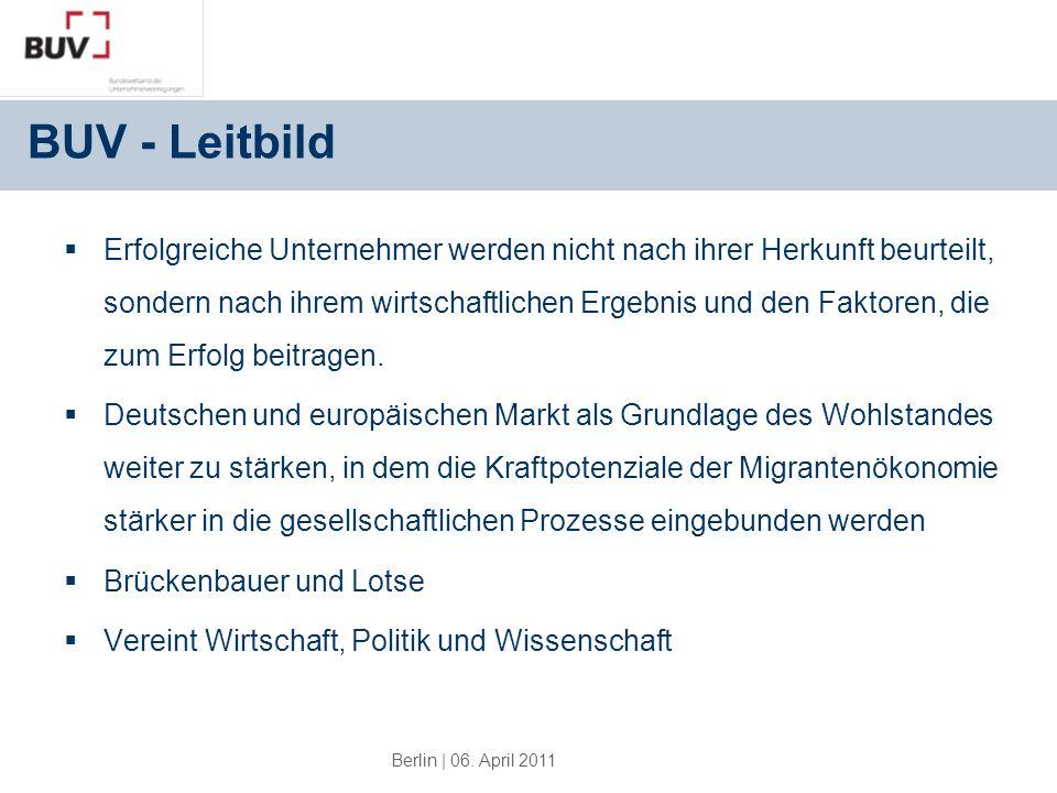 Berlin | 06. April 2011 BUV - Leitbild Erfolgreiche Unternehmer werden nicht nach ihrer Herkunft beurteilt, sondern nach ihrem wirtschaftlichen Ergebn