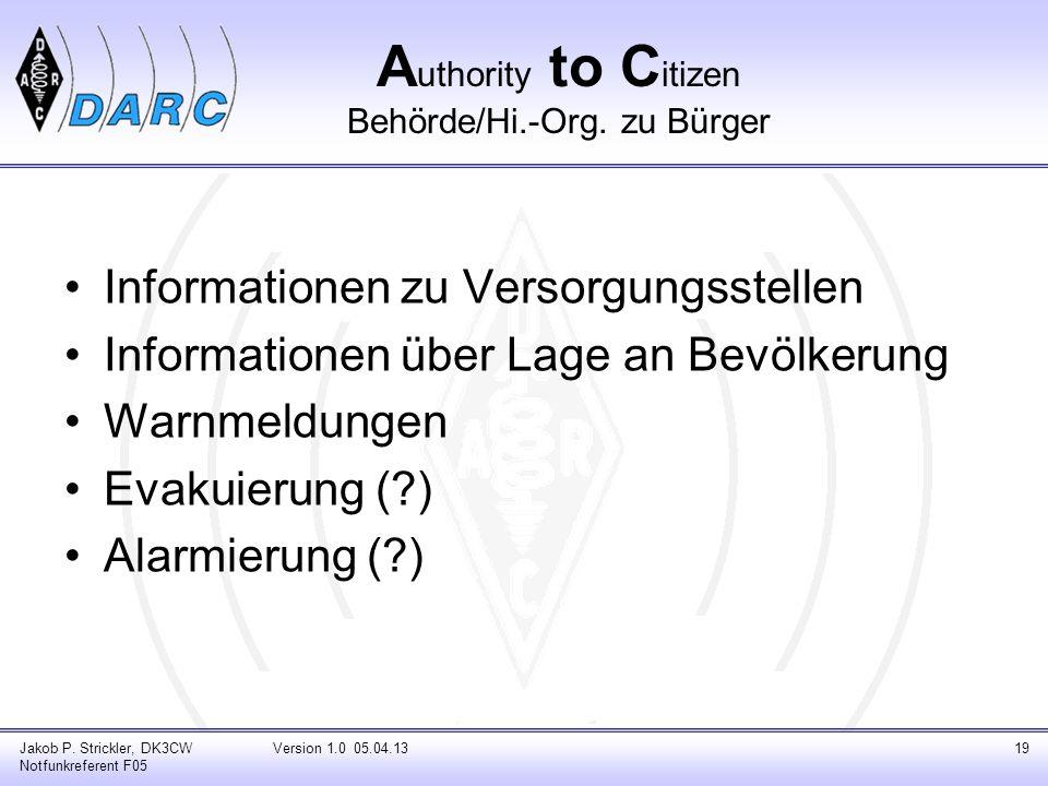 A uthority to C itizen Behörde/Hi.-Org. zu Bürger Informationen zu Versorgungsstellen Informationen über Lage an Bevölkerung Warnmeldungen Evakuierung