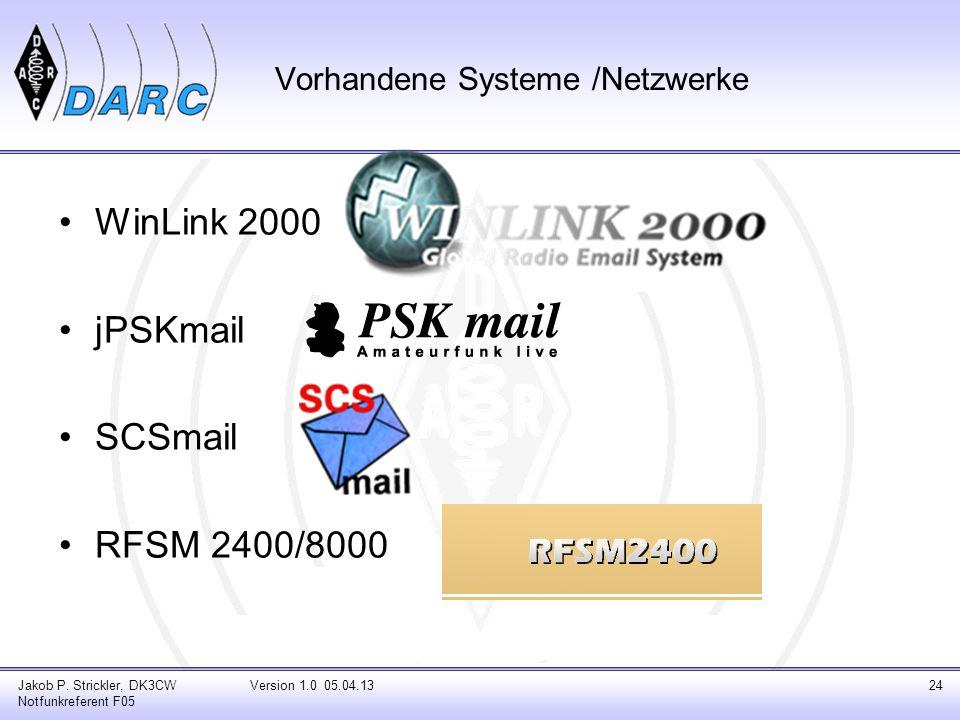 Vorhandene Systeme /Netzwerke WinLink 2000 jPSKmail SCSmail RFSM 2400/8000 Jakob P. Strickler, DK3CW Notfunkreferent F05 Version 1.0 05.04.1324