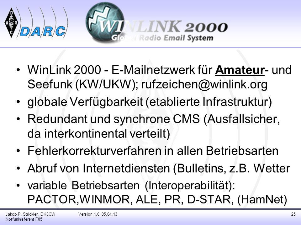 WinLink 2000 - E-Mailnetzwerk für Amateur- und Seefunk (KW/UKW); rufzeichen@winlink.org globale Verfügbarkeit (etablierte Infrastruktur) Redundant und