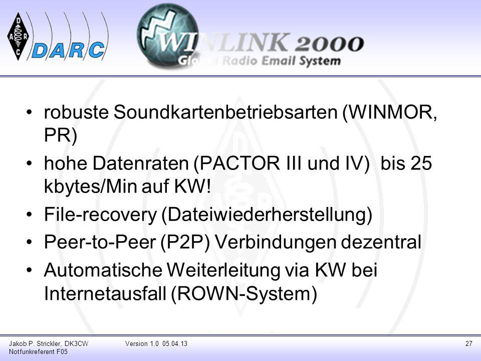 robuste Soundkartenbetriebsarten (WINMOR, PR) hohe Datenraten (PACTOR III und IV) bis 25 kbytes/Min auf KW! File-recovery (Dateiwiederherstellung) Pee