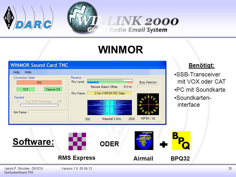 WINMOR Software: Jakob P. Strickler, DK3CW Notfunkreferent F05 Version 1.0 05.04.1330 RMS Express AirmailBPQ32 ODER Benötigt: SSB-Transceiver _mit VOX