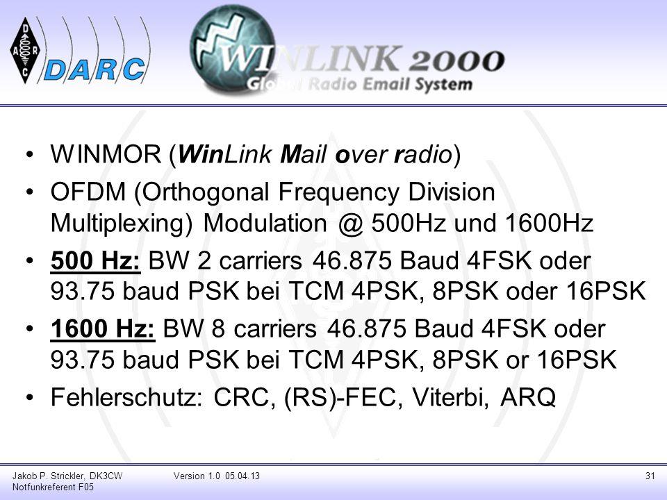 WINMOR (WinLink Mail over radio) OFDM (Orthogonal Frequency Division Multiplexing) Modulation @ 500Hz und 1600Hz 500 Hz: BW 2 carriers 46.875 Baud 4FS