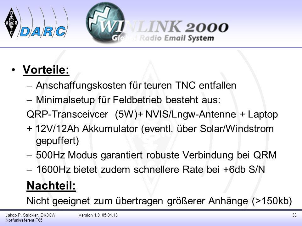 Vorteile: Anschaffungskosten für teuren TNC entfallen Minimalsetup für Feldbetrieb besteht aus: QRP-Transceivcer (5W)+ NVIS/Lngw-Antenne + Laptop + 12