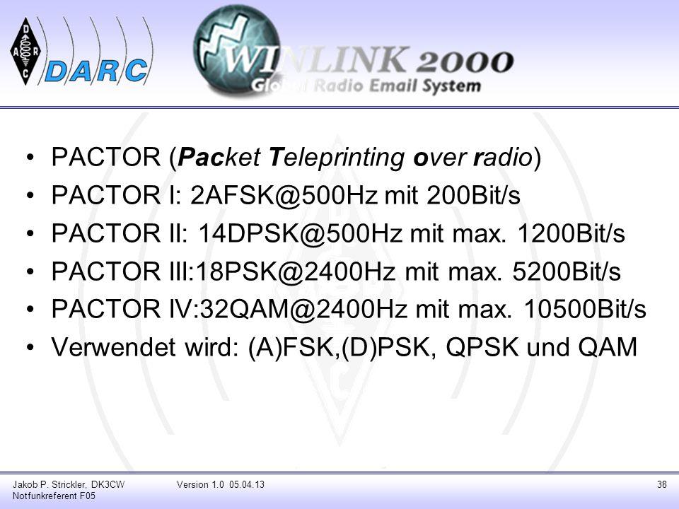 PACTOR (Packet Teleprinting over radio) PACTOR I: 2AFSK@500Hz mit 200Bit/s PACTOR II: 14DPSK@500Hz mit max. 1200Bit/s PACTOR III:18PSK@2400Hz mit max.