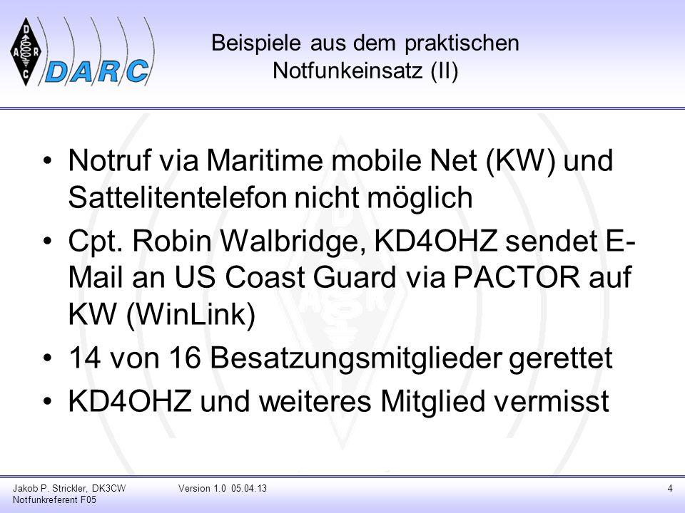 Beispiele aus dem praktischen Notfunkeinsatz (III) Hurrikan Kathrina 2005 Amerikanisches Rotes Kreuz und Funkamateure etablieren Kurzwellennetz (HFlink) im Splitbetrieb Betriebsart: Automatic Link Establishment (MIL STD 181-141 + 188-110) Jakob P.
